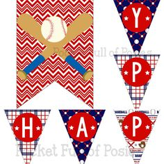 Baseball Theme Birthday Party Pack Package by PocketOfPosiesPrints Digital Download Printable DIY kid Boy Blue Red