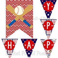 Baseball Theme Birthday Party Pack Package by PocketOfPosiesPrints Digital Download Printable DIY kid Boy Blue Red