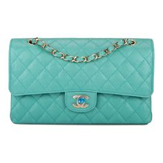 61bdfdc32de4 Chanel Iridescent Turquoise Quilted Caviar Medium Classic Double Flap Bag. Madison  Avenue Couture