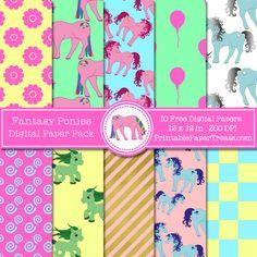 Free Fantasy Ponies Digital Papers Pack