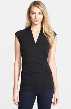 Vince Camuto Side Ruched V-Neck Top (Regular & Petite) available at #Nordstrom