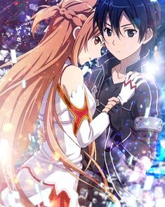 Asuna and Kirito - Anime Paare Sword Art Online Asuna, Sao Anime, Manga Anime, Anime Eyes, Animé Romance, Schwertkunst Online, Espada Anime, Couple Manga, Sword Art Online Wallpaper