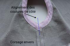 resultat-envers Techniques Couture, Sewing Techniques, Chiffon, Crochet, Tela, Poplin, Dressmaking, Costumes, Sewing Tips