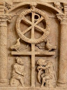"""Anastasis, symbolic representation of the resurrection of Christ. Panel from a Roman lidless sarcophagus of the """"Passion type"""", ca. 350 CE"""