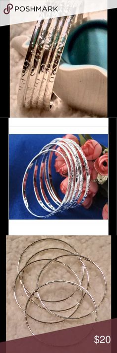 Silver carving bangle Beautiful bracelets Fashion jewelry without stone but it has nice craving. Internal diameter 2.54 inches.  All 5 bangles for $20.00. Jewelry Bracelets