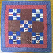 SWEET generational DOLL DOUBLE 9-PATCH deep blue & madder brown ANTIQUE quilt, eBay, fourthcornerfinds