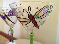 Hand Painted Dragonfly Martini Glasses Glassware. $12.00, via Etsy.