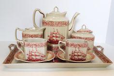 Rose Transferware Tea Set Nautical Sailing SHIP Toile Pot Tray Cream Sugar Cups   eBay