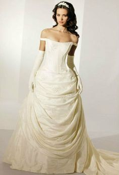 white linen wedding dress