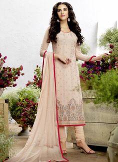 Energetic Embroidered Work Pink Churidar Salwar Suit