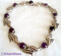 1930'S VTG MEXICO MEXICAN STERLING SILVER REPOUSSE & AMETHYST NOUVEAU NECKLACE #Handmade