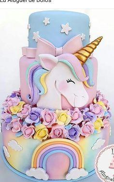48 Ideas For Birthday Party Cake Unicorn Pretty Cakes, Cute Cakes, Mini Cakes, Cupcake Cakes, Bolo Fake Eva, Unicorn Foods, Unicorn Cakes, Unicorn Rainbow Cake, Pinterest Cake