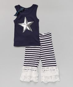 Look at this Silver Star Tank & Navy Ruffle Pants - Infant, Toddler & Girls on #zulily today!