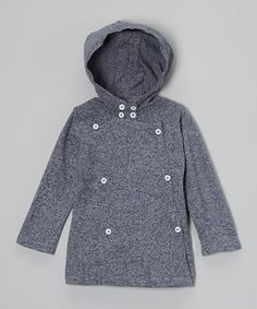 Take a look at this Dark Blue Heather Organic Hooded Peacoat - Infant, Toddler & Boys by Plum Bunny on #zulily today!