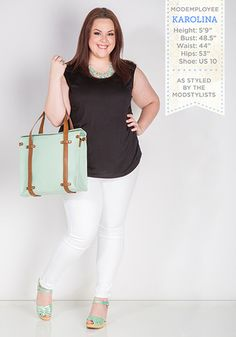 Love this. I won't do white pants, but loving the pop of color.  Stay chic and polished with a minimalist black and white outfit paired up with mint accents. Those #SwedishHasbeens though!