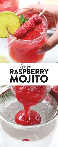 Looking for a refreshing cocktail to serve this summer? Look no further! Make this Ginger Raspberry Mojito, made with a homemade honey ginger simple syrup. #cocktail #raspberry #raspberrymojito #mojitorecipe