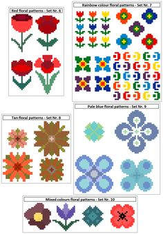 These sets of four floral cross stitch patterns are perfect for all kinds of small projects, such as cards, gift bags, jewellery and linen. Modern cross stitch chart by CrossStitchtheLine