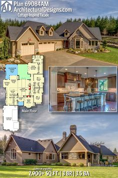 Architectural Designs European Cottage House Plan 69084AM 3 BR | 3.5 BA | 2,900+ Sq. Ft. | Ready when you are. Where do YOU want to build? #69084AM #adhouseplans #architecturaldesigns #houseplan #architecture #newhome #newconstruction #newhouse #homedesign #dreamhome #dreamhouse #homeplan #architecture #architect #cottage #homedecor