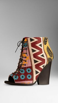 Tapestry Peep-Toe Ankle Boots   Burberry