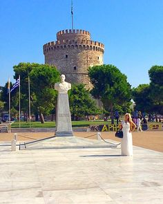 """""""White Tower  Thessaloniki - Greece """" Thessaloniki, Greece Travel, Pisa, Statue Of Liberty, Travel Inspiration, Tower, Building, Instagram Posts, Statue Of Liberty Facts"""