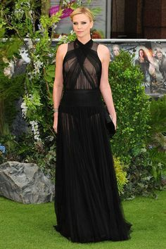 Charlize Theron's Glamorous Up Do & Sheer Black Dress