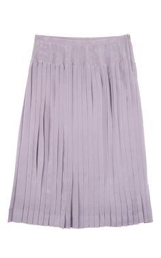 Rochas Crepe De Chine Pleated Silk Skirt In Purple