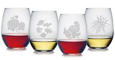 Beautifully etched, each stemless glass has a different fall scene.