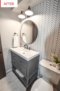 half Bathroom Decor Dark and Dated to Bright and Modern - Powder Bath Remodel - CH Design Co. Diy Bathroom, Bathroom Wallpaper, Basement Remodeling, Bathroom Makeover, Diy Bathroom Remodel, Bathroom Renovations, Half Bath Remodel, Bathrooms Remodel, Bathroom Design