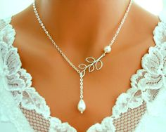 Wedding Necklace, Bridal Necklace, Lariat, White Gold Branch and - Wedding Jewelry | Bridesmaid