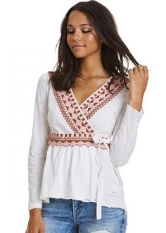 Odd Molly Broderet Bluse 217M-363 Get-a-way L/S Top - sandal wood