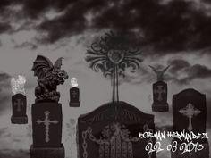 """""""Cementerio en el CIelo"""". En esta imagen se utilizaron los pinceles Clouds; DarkNGothic; DanlingGlows; y como Fuente se uso el Pincel GraffitiTags. Medidas 1024x768 pixeles. Orientación Horizontal."""