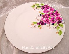 Hand Painted Plate: Purple Delight