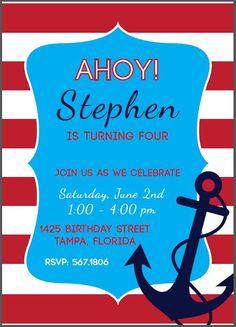Custom Nautical Birthday Party Invitation (Printable) by Cherry Vanilla Boutique on Etsy