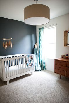 A Touch of Drama: Black Navy Accent Walls in Kids Rooms - Baby Nursery Today Nursery Dresser, Nursery Room, Kids Bedroom, Nursery Decor, Nursery Ideas, Accent Wall Nursery, Calming Nursery, Nursery Themes, Room Ideas