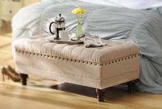 Repin if your #bedroom needs a little something like this! Our Oatmeal Linen Tufted Storage Bench is elegantly stylish. #kirklands #eCatalog