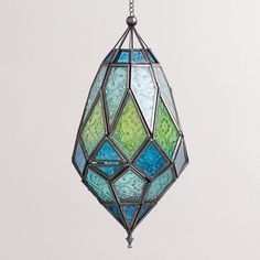 Lovely palette and geometries! Medium Antigua Pieced Glass Lanterns, Set of 2 Stained Glass Lamps, Stained Glass Designs, Stained Glass Projects, Stained Glass Patterns, Leaded Glass, Mosaic Glass, Fused Glass, Lantern Set, Luminaire Design