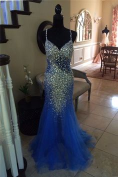 Mermaid Sweetheart Open Back Royal Blue Tulle Beaded Prom Dress With Straps