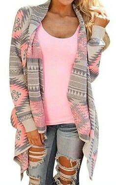 c82eba7054 Myobe Women s Aztec Print Drape Open Front Drape Boyfriend Cardigan Sweaters