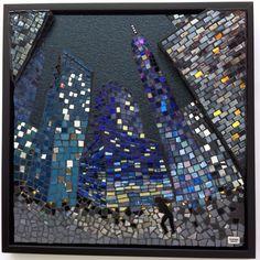 Hjemløs. Glas og spejl. 3D-effekter. 40 X 40 cm.