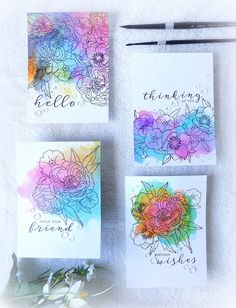 handmade notecard set from You and Your Big Dreams: Distress Ink Watercolor Backgrounds on Bristol . intricate line art flower boquets stamped on top . Watercolor Backgrounds, Art Journal Backgrounds, Watercolor Cards, Watercolor Flowers, Watercolour, Encre Distress Ink, Distress Oxide Ink, Distress Ink Techniques, Embossing Techniques
