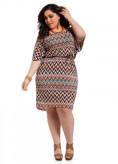 Ashley Stewart: Belted Chevron Dress