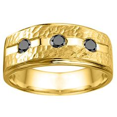 Yellow Silver Round Burnished Set Mens Ring with Hammered Finish with Black Diamonds 036 ct twt >>> More info could be found at the image url.