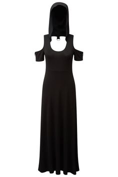 Rae Fairlight Maxi Dress | KILLSTAR. She can SPELL it out for ya, she's a modern witch - & yeah, sometimes she can be an old-school bitch. Rae is a festival dream & ritual-tastic maxi dress with just the right accent details - keeping ya goth enough whilst relaxed AF. Soft touch jersey that sweeps over your silhouette, low neckline, cut-out short sleeves & a classic oversized hood - Match with a killer handbag and lashes longer than his usb-drive.