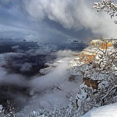 This week a #winter storm blanketed #GrandCanyon National Park in a layer of snow and low-lying clouds. For visitors to the park it was truly breathtaking. This photo was taken Thursday before #sunset from @grandcanyonnpss Historic District in Grand Canyon Village. Photo by Clayton Hanson #NationalPark Service. #Arizona by usinterior