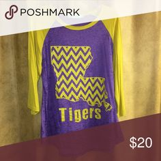 Ladies LSU Tigers Louisiana shirt Large Baseball style burnout shirt. Worn once. Size Large Tops Tees - Long Sleeve