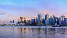 Vancouver Skyline, British Columbia, Spotlight, New York Skyline, Ocean, Canada, Clouds, Sunset, Architecture