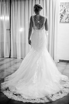 Holly in the beautiful Erin wedding dress. Such an amazing back feature. Mermaid Wedding, Brides, Wedding Dresses, Amazing, Pretty, Beautiful, Fashion, Shopping, Bride Dresses