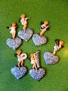 6 Vintage Angel Band RARE German Mica Plastic Musical Christmas Ornaments HEARTS