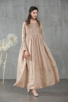 linen dress maxi dress in champagne winter dress pleated dress longsleeved dress wedding dress French dress Look Fashion, Hijab Fashion, Fashion Dresses, Gothic Fashion, Club Fashion, Steampunk Fashion, Dress Outfits, Linen Dresses, Casual Dresses