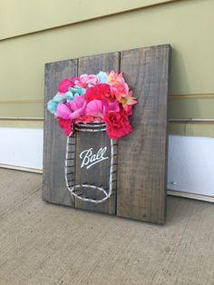 Mason Jar String Art with Flowers by CustomizedByAshley on Etsy